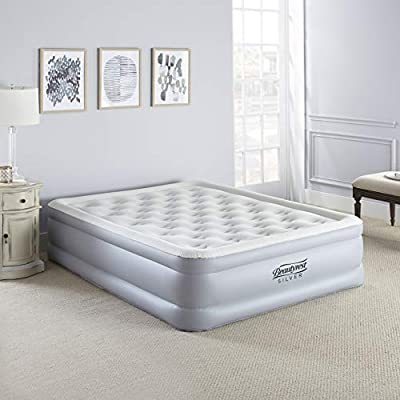 """Beautyrest EverFirm Adjustable Comfort Dual Coil Raised Pillowtop Air Bed Mattress with Built-in Pump, Silver, 18"""" Queen"""