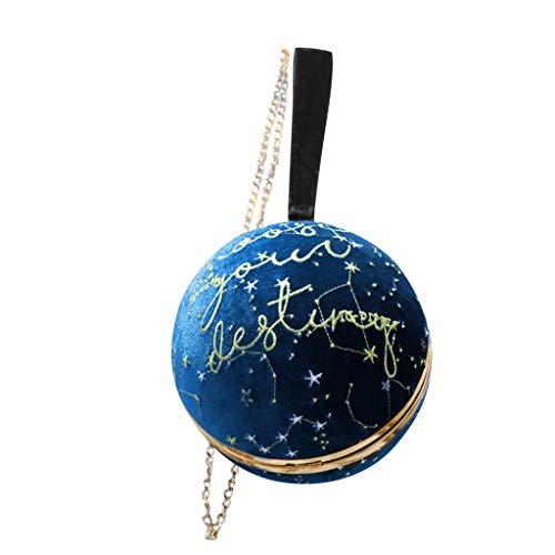 TAMALLU Damen Umhängetasche Umhängetasche Kette Konstellation Wildleder Retro Ball Kette Mode Bag(Blau)