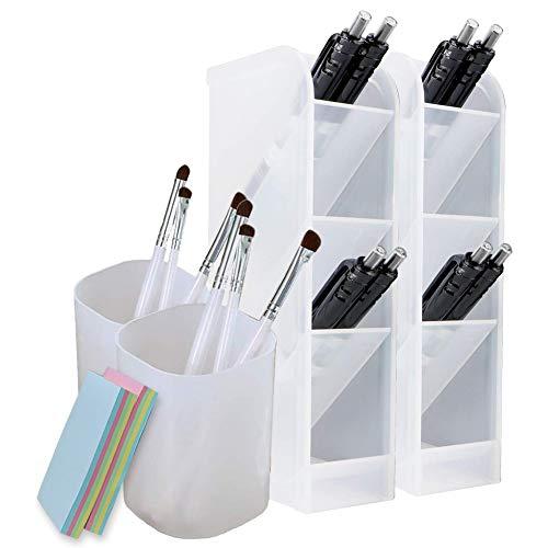 Qualsen 4Pcs Schreibtisch Organizer, stifte halter aufbewahrung Für Büro, Schule, Zuhause, schreibtischutensilien, durchscheinend weiß