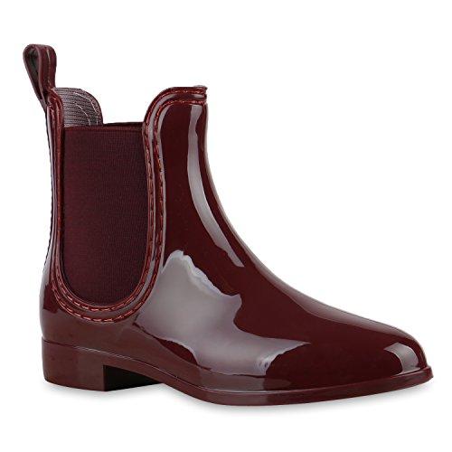 Damen Stiefeletten Chelsea Boots Lack Damen Muster Animal Print Blockabsatz Schuhe 127030 Dunkelrot 40 Flandell