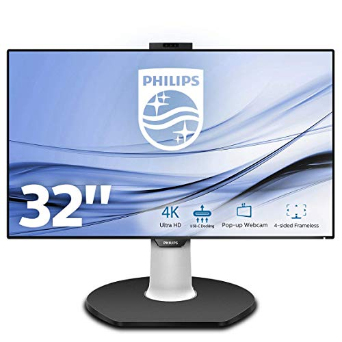 "Philips 329P9H Monitor 32"", 4k UHD 3840 x 2160, LED IPS, Webcam e Microfono Pop-UP, Regolabile in Altezza, Girevole, Pivot, Audio Integrato, 2 HDMI, Display Port In/Out, 4 USB, RJ45, Vesa, Nero"