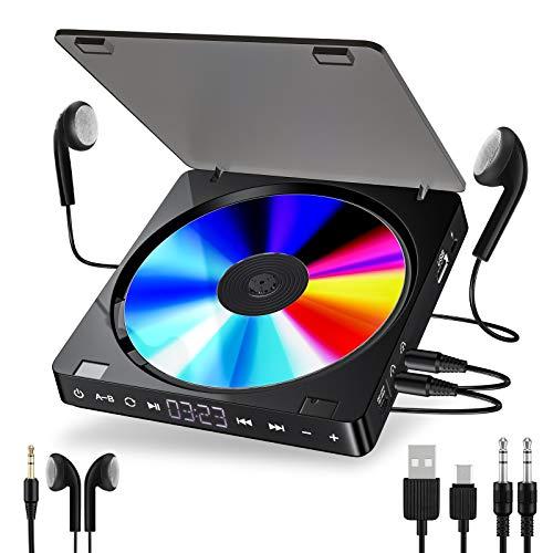 FOTGL Leitor de CD portátil versão de fone de ouvido duplo Touch Button Reprodutor CD Walkman Discman tela LCD recarregável à prova de choque (cor: preto)