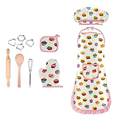 FORESTIME Complete Kids Cooking and Baking Set- 9Pcs Includes Apron for Little Girls Chef Hat, Mitt & Utensil for Toddler Dress Up Chef Costume Career Role Play (Multicolor)