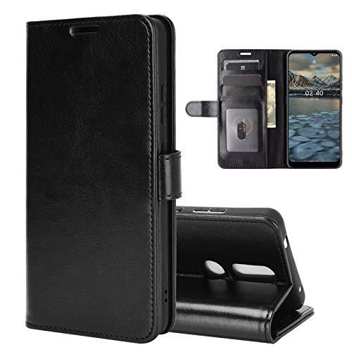 ROVLAK Custodia per Nokia C3 Case Portafoglio Flip Cover con Slot per Schede Custodia in Pelle Antiurto PU+Case in Silicone TPU Interna per Nokia C3 Cover,Nero