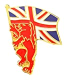 Anstecknadel mit britischem Löwenträger, Union Jack, hochwertig, Emaille, T739