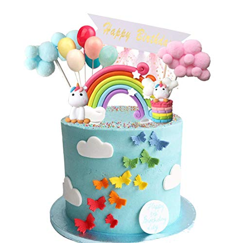Unicorn Cake Topper, Cloud Rainbow Balloon Happy Birthday Banner taartdecoratie voor kinderen meisjes party babyparty