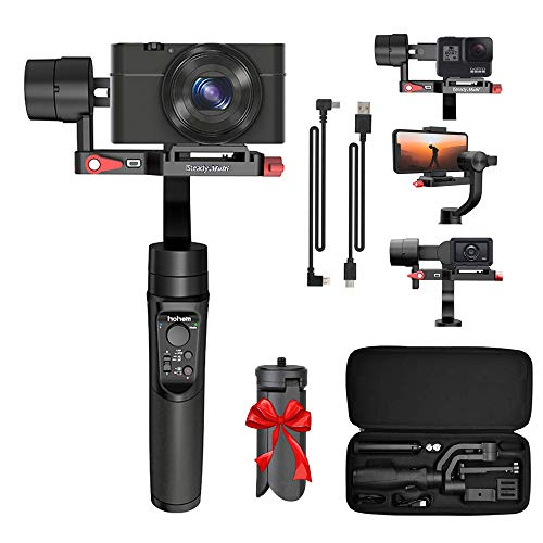 Hohem iSteady Multi 3-Axis Gimbal Stabilizer for Compact Cameras/Action Camera/Smartphone w/ 600° Inception Mode, 0.9lbs Payload for iPhone 12 Pro/Gopro Hero 8/Sony Compact Camera RX100