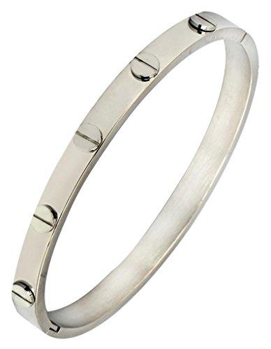 Die Jewelbox Herren Edelstahl Oval Frei Größe, biomagnetisch Kristallsteinen Armreif Armband