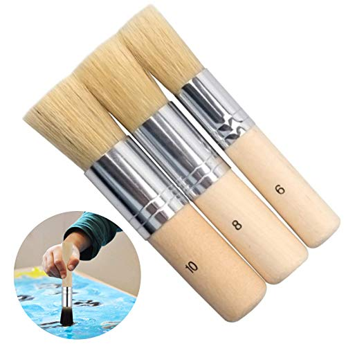 Pinceles de Cerdas Naturales Cera de Pincel de Tiza Cepillo de Cerdas de Pintura al óleo Pinceles para Estarcido Juego de Pinceles de Cera para Pintura Acrílica Pintura al óleo Pintura (3 piezas)