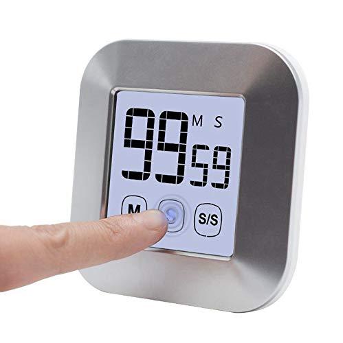 VCXZ 0-99 Minutes écran Tactile LCD rétro-éclairage minuterie numérique réveil Outils de Cuisine Accessoires de Cuisine,Argent