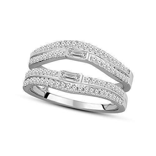 Natural 1/20 Carat Diamond Ring For Women GH-I1 Quality 10K White Gold Diamond Jewelry Gifts 10K Diamond Rings (0.05 Ct Diamond Key)