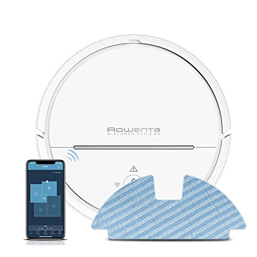 Rowenta RR7747WH Explorer 80 Allergy Connect Nass-Trocken-Saugroboter (2-in-1 saugen und wischen, mit App-/Sprachsteuerung, No-Go-Zonen, filtert Allergene aus der Abluft) weiß