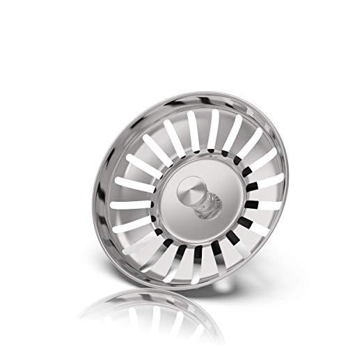 Rietlow Siebkörbchen Spüle (L Ø82mm, Advanced) - Universal Spülbecken Sieb aus gehärtetem Stahl mit innovativer Stöpsel Funktion - Ideal als Blanco Spülen Ersatzteil - Verbesserte Version 2020