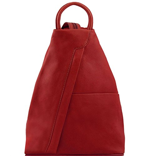 Tuscany Leather Shanghai-Zaino in pelle Made in Italy, Red (rosso) - TL140963RD