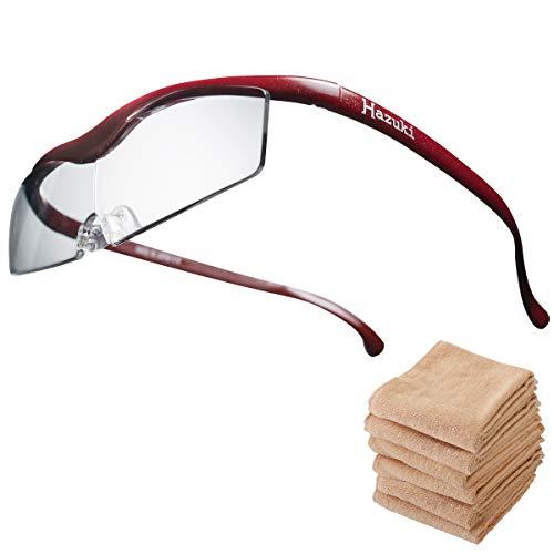 Hazuki ハズキルーペ コンパクト 1.6倍 ブルーライト対応 クリアレンズ 赤 (全9色) 【正規代理店品・メーカー保証付】 セブンエステ製フェイスタオル付 [ ハズキ 拡大眼鏡 拡大鏡 拡大レンズ 拡大メガネ 眼鏡型 めがね型 メガネタイプ 眼鏡