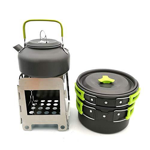 DZNOY Camping al Aire Libre Senderismo Vajilla Pot Tetera Firewood Estufa Combinación de Aluminio Utensilios de Cocina Picnic Set para 2-3 Persona Taza de té Verde Tetera