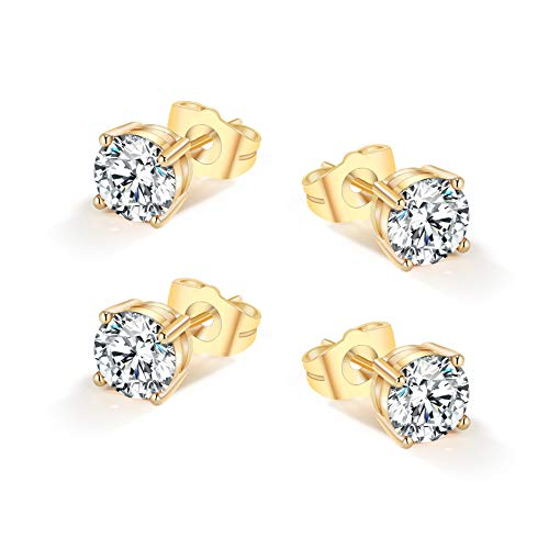 Yumay Gold Stud Earrings Made with Sparkling Diamond White Cubic Zirconia for Women