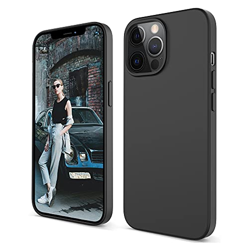 Migeec Funda para iPhone 2021 Pro MAX Silicona Líquida Microfibra Suave Anti-Rasguño Anti-Golpes Protector (6,7 Pulgadas) - Negro