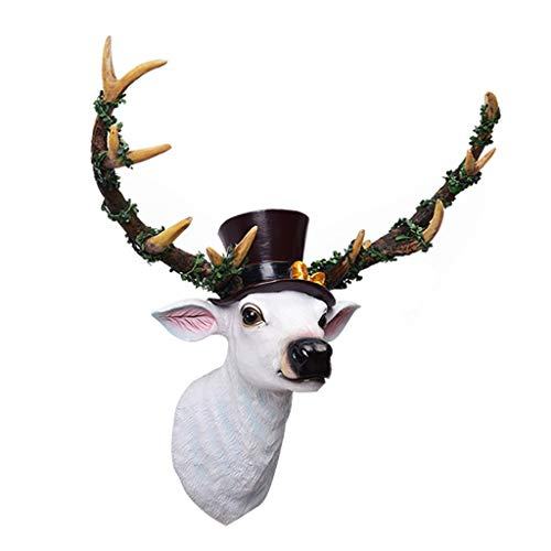 Deer Head Wall Hanging Mural Bar Wall Hangings Wall Hangings Animal Head Mural Handmade Farmhouse Decoration (Color : White, Size : 48 * 50 * 20cm)