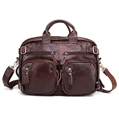 AKIGN Multifunctional Briefcase,Leather Laptop Bag Fashion Casual Men's Travel Backpack- Brown Satchel Bag