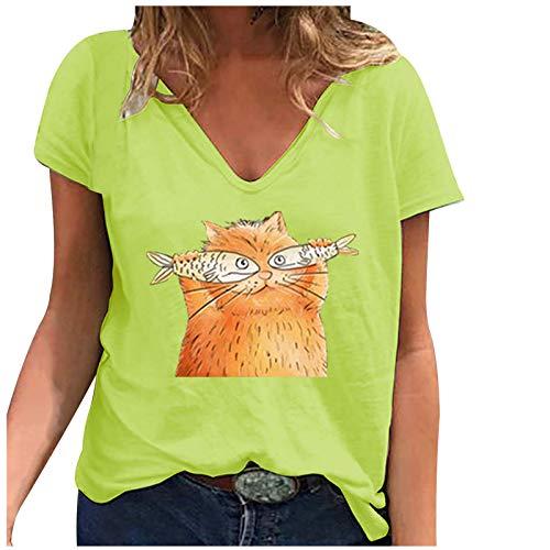 Camiseta de mujer de tallas grandes, blusa gráfica, elegante, de manga corta, cuello en V, básica, para verano, túnica, Amarillo D., XXXXL
