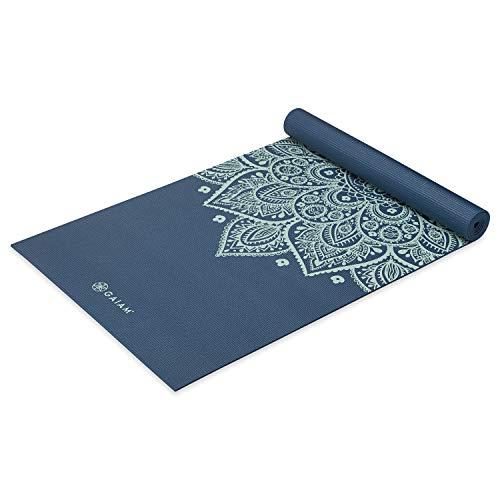 Gaiam Yogamatte, Premium-Druck, rutschfest, für alle Arten von Yoga, Pilates und Bodentraining, Indigo-Sonnenuhr, 5 mm