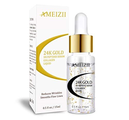AMEIZII suero hialurónico de oro de 24 K con seis péptidos para la cara, crema antienvejecimiento, levantamiento de arrugas, blanqueamiento reafirmante hidratante para el cuidado de la piel