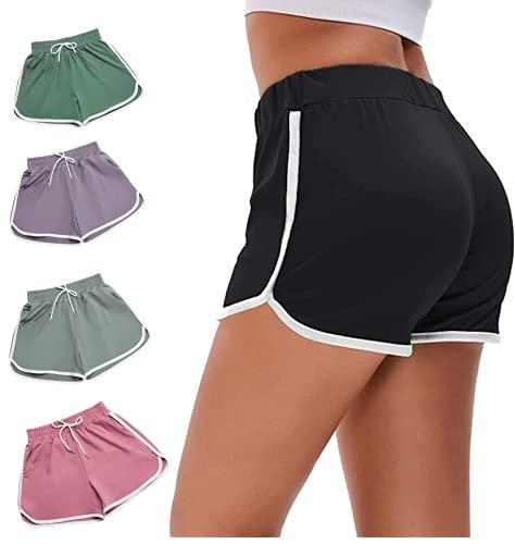Pantalones Cortos Mujer con Bolsillos de Verano para Mujer Ropa Deportiva Yoga Gimnasio Fitness Playa Pantalones Cortos de Mujer y Niñas Shorts Cintura Elástica Ancha (Morado, L)