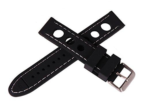 22 mm de Espesor Banda de Reloj de Goma Negro en Contraste Estilo Reloj Pulsera Puntada Perforada Blanca Raza de Goma