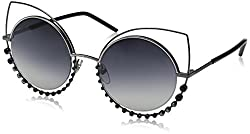 Dark Gray Gradient Marc16s Cateye Sunglasses with Rhinestones