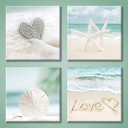 UTOP-art Aqua Beach Seashell Pictures Artwork: Love & Starfish Canvas Print Wall Art for Bathroom (12'' x 12'' x 4 Panels)