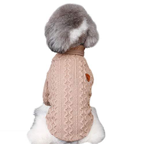 puseky Huisdier Hond Coltrui Winter Puppy Knitwear Warm Kleding voor Honden & Katten, M, Beige