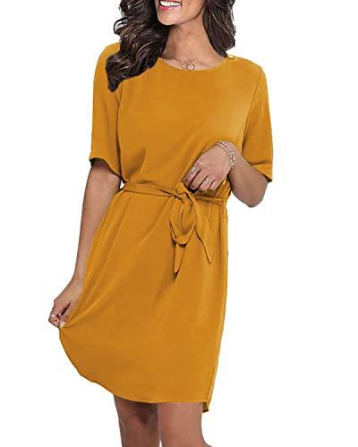 LilyCoco Damen Kleid Elegant Herbst Winter Sexy Kleider für Damen Mädchen Langarm Kurzarm Minikleid mit Gürtel Knielang Gelb XL