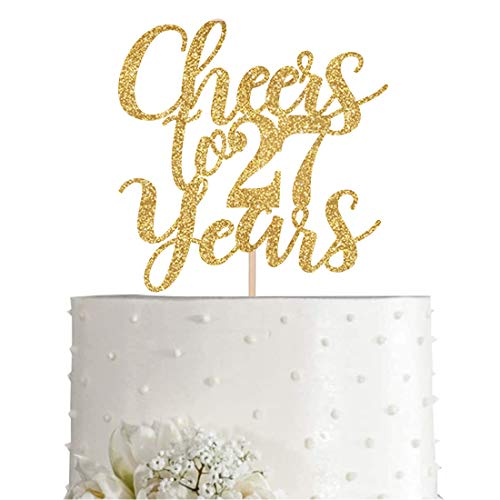Gold Glitter Cheers to 27 years cake topper, Gold Happy 27th Birthday Cake Topper, Birthday Party Decorations, Supplies