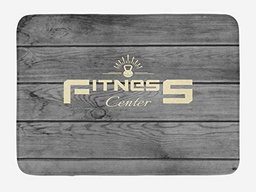 Alfombrilla de baño para fitness, club de fitness sobre tablones de madera, como telón de fondo, aeróbicos, estampado de entrenamiento energético, felpa para decoración de baño con respaldo antidesliz
