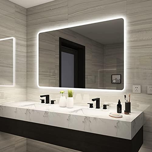 STARLEAD 700 x 1000 mm LED retroiluminado Iluminado baño Bluetooth Espejo, Espejo montado en la Pared de Maquillaje con Almohadilla desempañada, botón Regulable táctil, Horizontal/Vertical