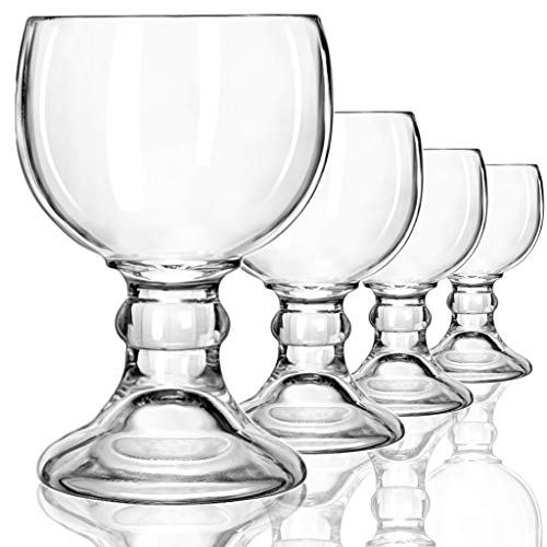 Schooner Beer Glasses Set - 21-ounce Large Margarita Glass, Big Goblet Style Beer Glass for Coronarita, Fish Bowl Glasses for Drinks - Set of 4