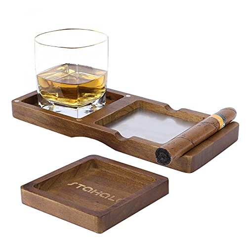 Wooden Cigar Ashtrays Coaster,Ash Tray and Whiskey Glass Tray,Whiskey Glass Tray and Cigar Holder,2-Layer Coaster Cigar Whiskey Accessory Set,Great Gift for Men,Great Decor for Home,Office or Bar