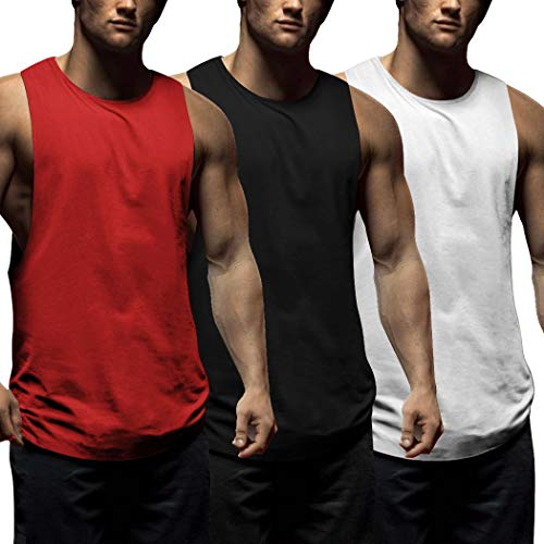 COOFANDY Juego de 3 camisetas de tirantes para hombre, para fitness, deporte, sin mangas, para entrenamiento, gimnasio, culturismo, sin mangas negro/blanco/rojo M