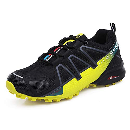 Logobeing Zapatillas de Senderismo Hombre Aire Libre y Deporte Zapatillas de Malla Transpirables Zapatillas de Trabajo Ultraligeras y Antideslizantes Trainers (SPEED4 Black Yellow 43) …