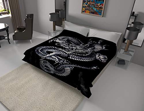 SOLARON Korean Super Thick Heavy Weight Mink Blanket (Queen, Dragon Black)