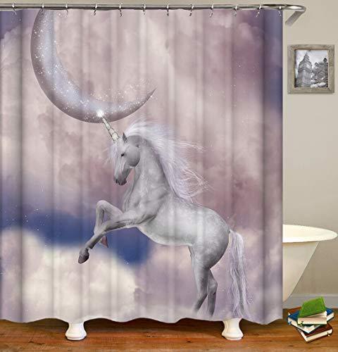 Duschvorhang, Einhorn-Mond, rosa Wolken, mystische Fantasie, Märchen, Polyester, bedruckt, dekorativer Badezimmer-Vorhang mit Haken-Set (183 x 183 cm) (S2577)