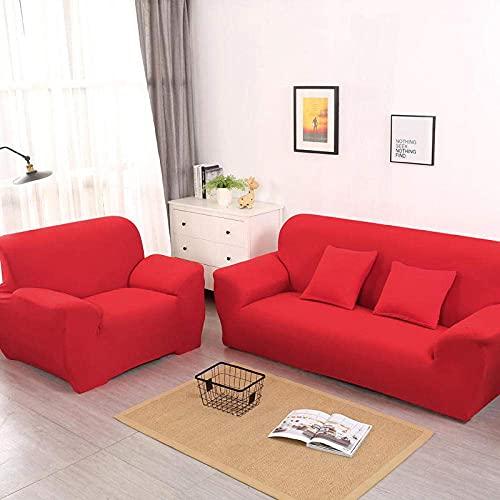 LJM Fundas para sillas Sillones Estiramiento Antideslizante Funda para sofá 1 2 3 4 plazas Perros Gato Mascota Sala de Estar Elástico Protector de sofá Funda para Silla con Brazos-Red_1 plazas 9