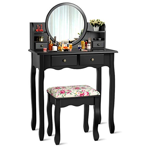CHARMAID Vanity Set with 4 Storage Shelves and 4 Drawers, Makeup Table with 360° Pivoted Round Mirror and Makeup Organizers, Dressing Table with Mirror and Cushioned Stool for Women Girls (Black)
