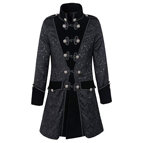 JUTOO Herren Gothic Buttons Tand-up Kragen Art Retro Mantel Tuxedo Jacke Mantel (Schwarz,XXXL)