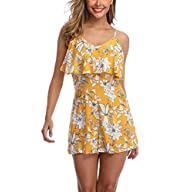 Front of Wudodo Rompers for Women Off Shoulder Sleeveless Straps Floral Print Ruched Short Jumpsuit