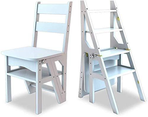 Silla multifuncional for adultos taburete de paso for el hogar, Asientos Paso Escalera plegable de madera escaleras de tijera heces, multipropósito robusta de madera Escalera estante o subir la escale