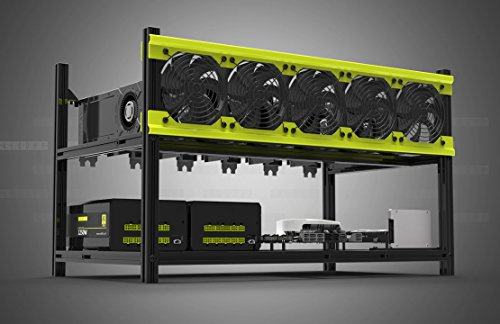 Veddha Deluxe 6 GPU Minercase V3D 6 Bay Aluminum Stackable Mining Rig Open Air Frame Case (BlackStorm/Yellow)