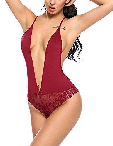 ADOME Damen Sexy Body Dessous Rückenfrei Spitze Bodysuit Negligee Reizwäsche Unterwäsche Babydoll Lingerie Erotic Nachtwäsche
