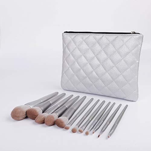 Pinceaux de Maquillage Premium 12 Pinceau De Maquillage Argent Débutant Ensemble Complet Portable Super Doux Beauté Outils Poudre Lâche Blush Pinceau Pinceau De Maquillage (Color : Silver)